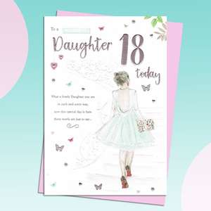 Daughter Age 18 Birthday Card Featuring A Young Girl In A Elegant Dress
