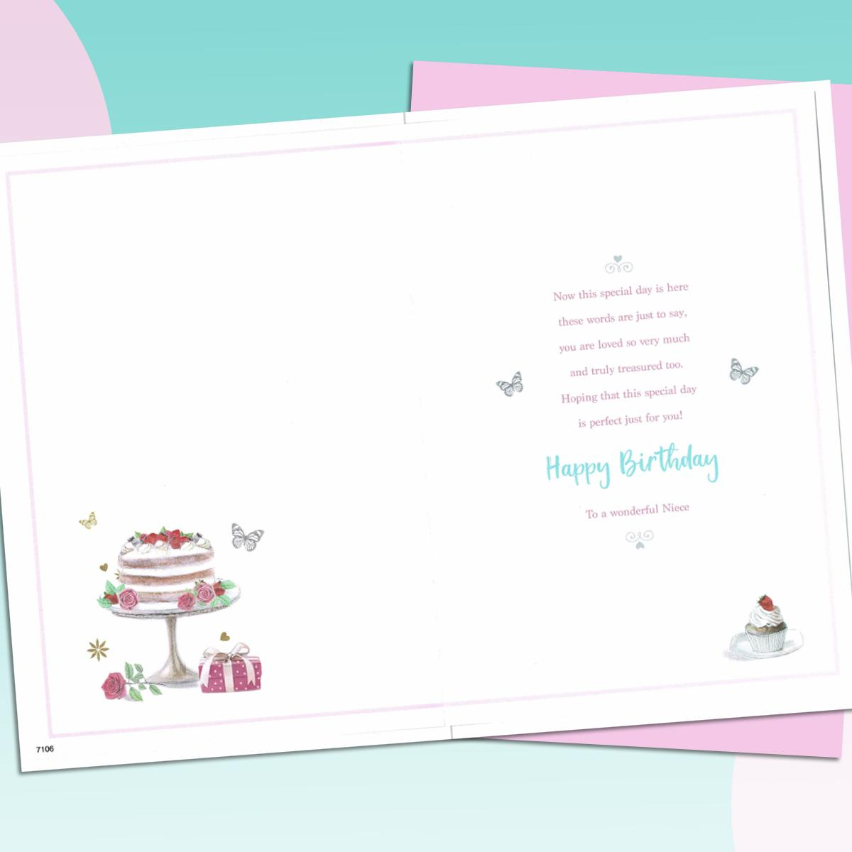 Niece Birthday Card Alongside Its Light Pink Envelope