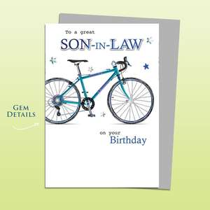 Son In Law Birthday Card Alongside Its Silver Envelope