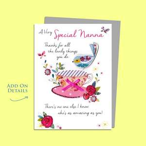 Nanna Cup Of Tea Birthday Card Alongside Its Silver Envelope