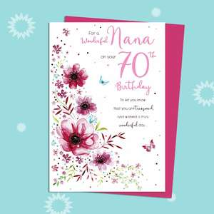 Nana On Your 70th Birthday Card Alongside Its Magenta Envelope