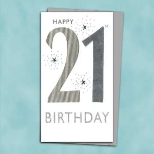 21st Handmade Birthday Card Alongside Its Silver Envelope