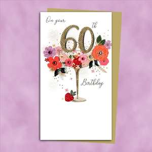 60th Cocktail Glass Themed Birthday Card Alongside Its Gold Envelope