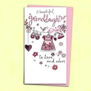 Birth Of Granddaughter Baby Card Alongside Its Pink Envelope