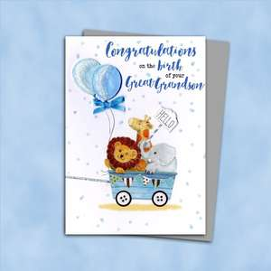 Birth Of Great Grandson Baby Card Alongside Its Silver Envelope