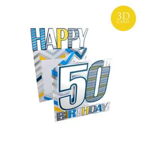 3 Fold Age 50 Birthday Card Alongside its Blue Envelope