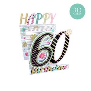3 Fold Age 60 Birthday Card Alongside Its Turquoise Envelope