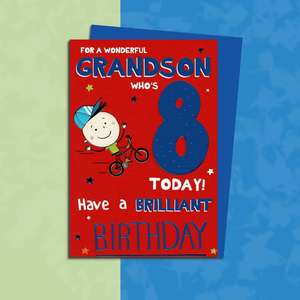 Grandson Age 8 Birthday Card Sitting On A Display Shelf