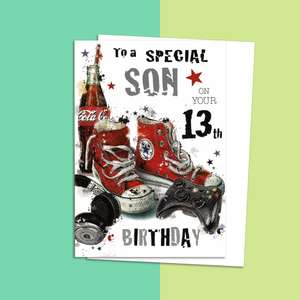 Son Age 13 Birthday Card Alongside Its White Envelope