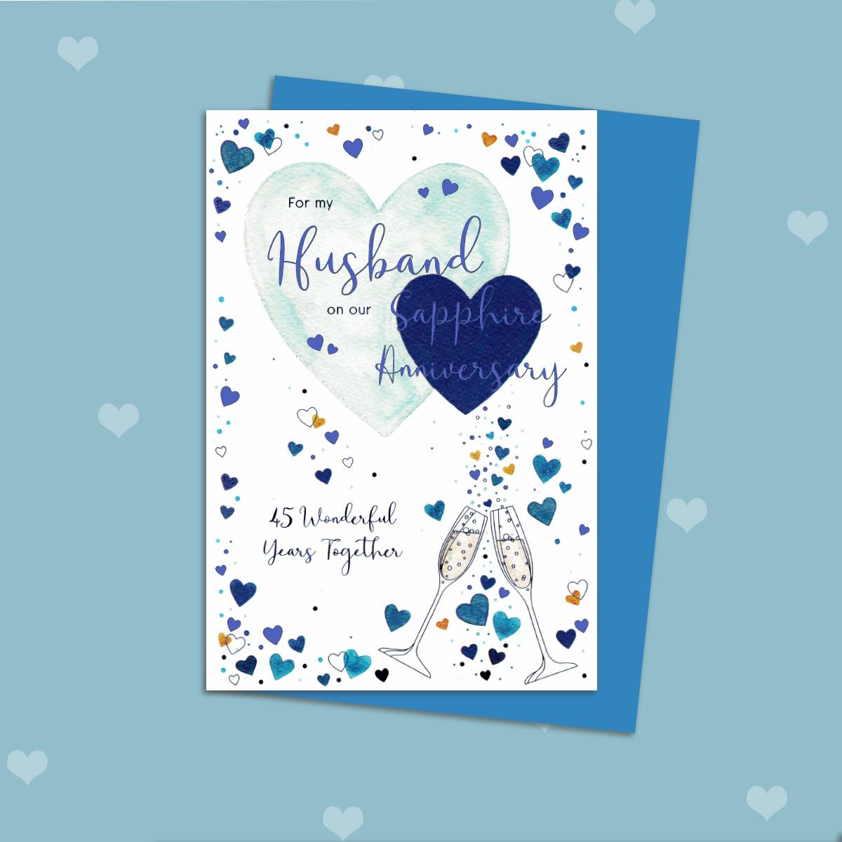 Husband Sapphire Anniversary Card Displayed On A Wooden Shelf