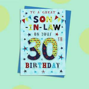 Son In Law Age 30 Birthday Card Alongside Its Blue Envelope
