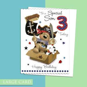 Son Age 3 Large Birthday Card Alongside Its White Envelope