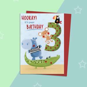 Age 3 Animal Themed Birthday Card Alongside Its Red Envelope