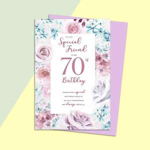 Friend Age 70 Birthday Card Alongside Its Lilac Envelope