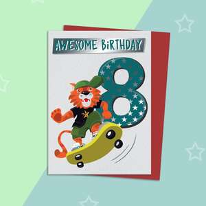 Age 8 Skateboarding Themed Birthday Card Alongside Its Red Envelope