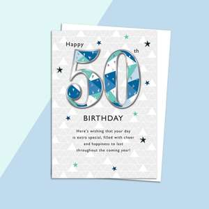 Age 50 Birthday Card Alongside Its White Envelope