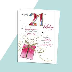 Age 21 Birthday Card Alongside Its White Envelope