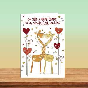 Husband Giraffe Themed Anniversary Card Alongside Its Pearl Ivory Envelope