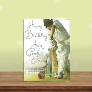 Cricket Themed Birthday Card Alongside Its White Envelope