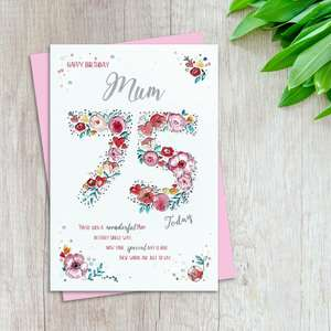 Mum Age 75 Birthday Card Alongside Its Light Pink Envelope