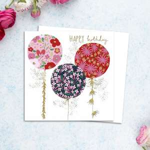 Trio Of Balloons Birthday Card Alongside Its White Envelope
