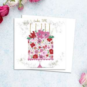 Cake Time Birthday Card Alongside Its White Envelope