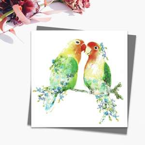 Floral Love Birds Blank Card Alongside Its Dark Grey Envelope