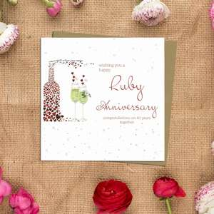 Ruby Anniversary Greeting Card Alongside Its Kraft Envelope