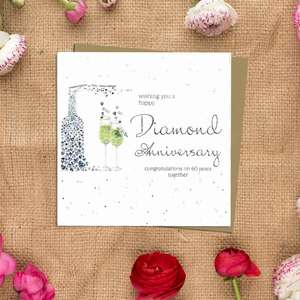 Diamond Anniversary Greeting Card Alongside Its Kraft Envelope
