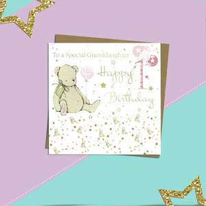 Granddaughter Age 1 Birthday Card Alongside Its Kraft Envelope