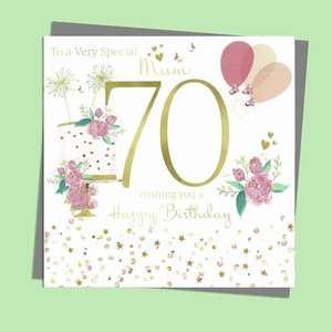 Mum 70 Birthday Card Alongside It's Silver Envelope