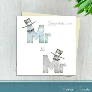 Congratulations Card For Mr And Mr. Shows The Words Mr And Mr Adorned With Top Hats And Bow Ties. Finished With Silver Foil Accents And Completed With An Ivory Envelope