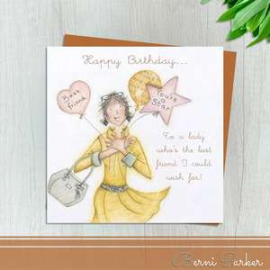 Lady Holding Balloons Depicting Best Friend , Friend And You're A Star. Blank Inside For Your Own Message. Complete With Bronze Coloured Envelope