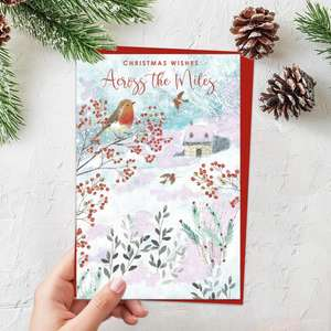 Christmas Wishes Across the Miles Featuring Robins In A Snowy Scene. Finished With Red Lettering, Sparkle And Red Envelope