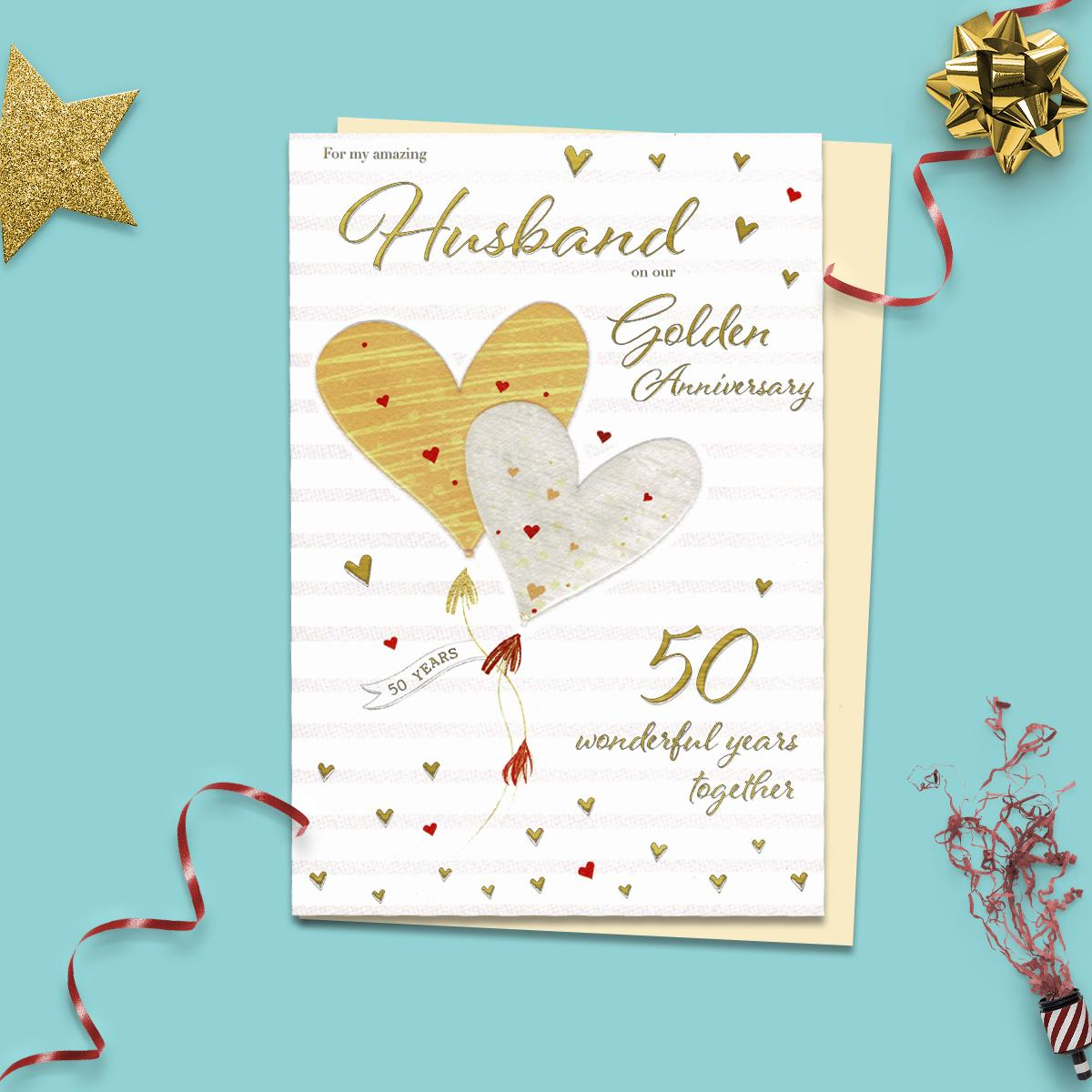 Husband Golden Anniversary Card Sat On A Display Shelf