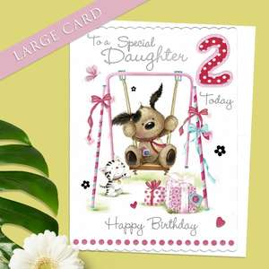 Large Daughter Age 2 Birthday Card Alongside Its White Envelope