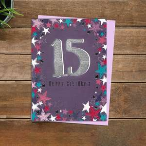 Happy 15th Girls Birthday Card Alongside Its Lilac Envelope