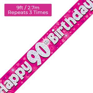 Age 90 Pink And Silver Holographic Birthday Banner Displayed