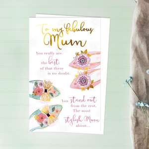 Mum Colourful Shoes Mother's Day Design Alongside Its White Envelope