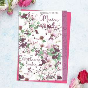 ' Especially For You Mum On Mothering Sunday' Featuring Flowers In Shades Of White, Purple And Pink. With Added Pink Foil Detail And Bright Pink Envelope