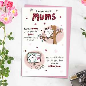 A Poem About Mums Mother's Day Card Alongside Its Light Pink Envelope