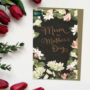 ' RHS Mum On Mother's Day' Card Featuring A Black Background With Beautiful Flowers Creating A Border. With Brown Envelope