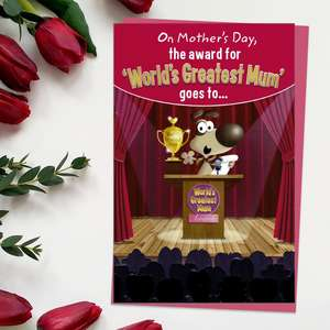 ' Worlds Greatest Mum' Award Mother's Day Card With Pop Out Trophy Inside. Complete With Bright Pink Envelope