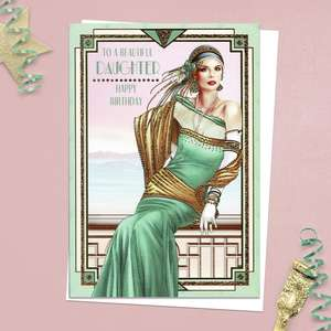 ' To A Beautiful Daughter Happy Birthday' Card Featuring A Beautiful Lady Leaning On An Ornate Balcony Rail At Sea! Part Of The Art Deco Range By Debbie Moore. Complete With Gold Foiling Detail And White Envelope