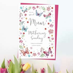 ' For A Very Special Mum On Mothering Sunday' Card Featuring Butterflies And Flowers With Added Silver Foil Detail. Complete With Cerise Envelope