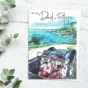 'For You Dad On Father's Day' Card Featuring A Coastal Drive Scene. With Stunning Blue Foiled Lettering