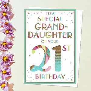 ' To A Special Granddaughter On Your 21st Birthday' Card Featuring Rainbow Coloured Lettering And Colour Printed Insert. Complete With white Envelope