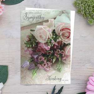 With Deepest Sympathy Pink Roses Card Front Image