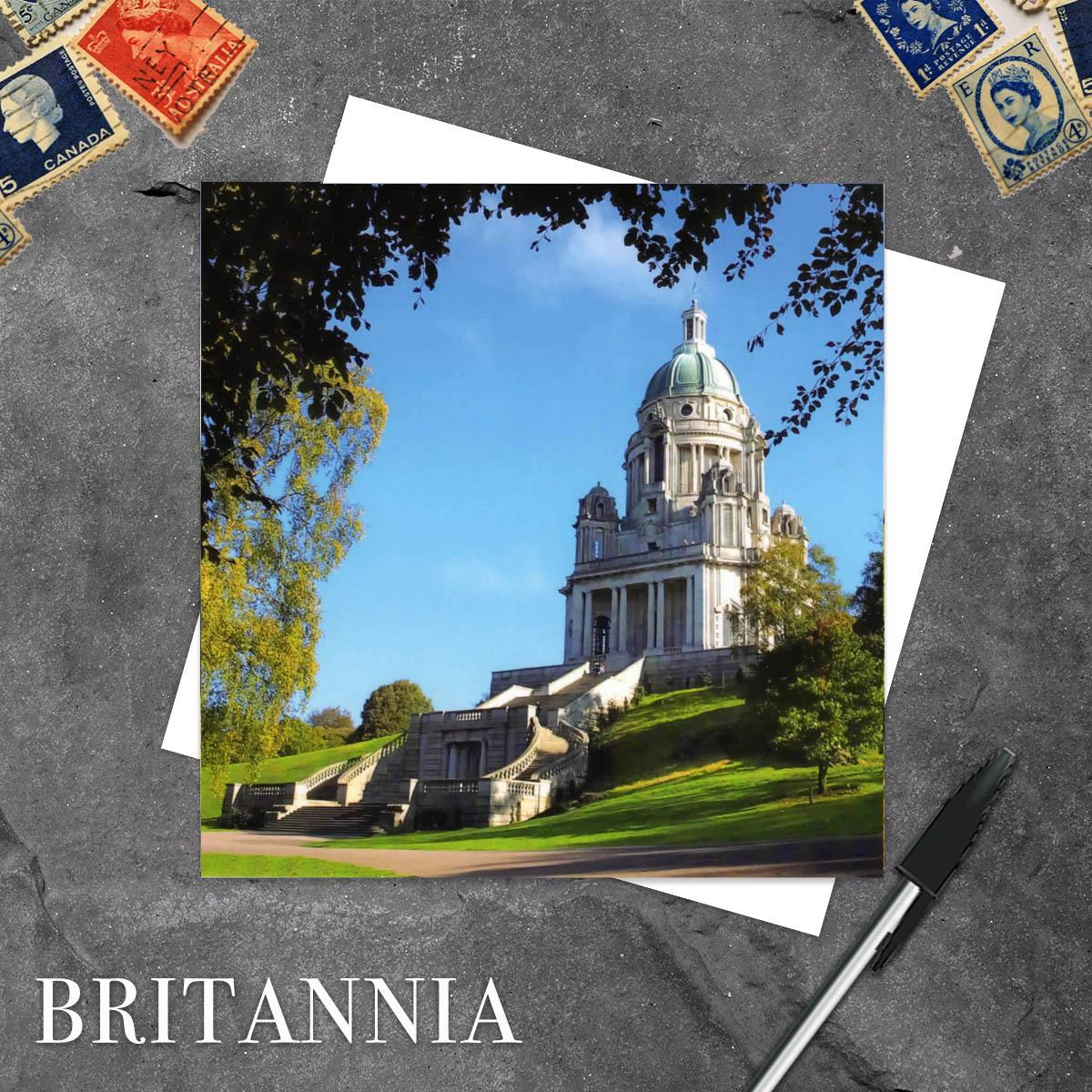 Ashton Memorial Greetings Card With Coloured Background