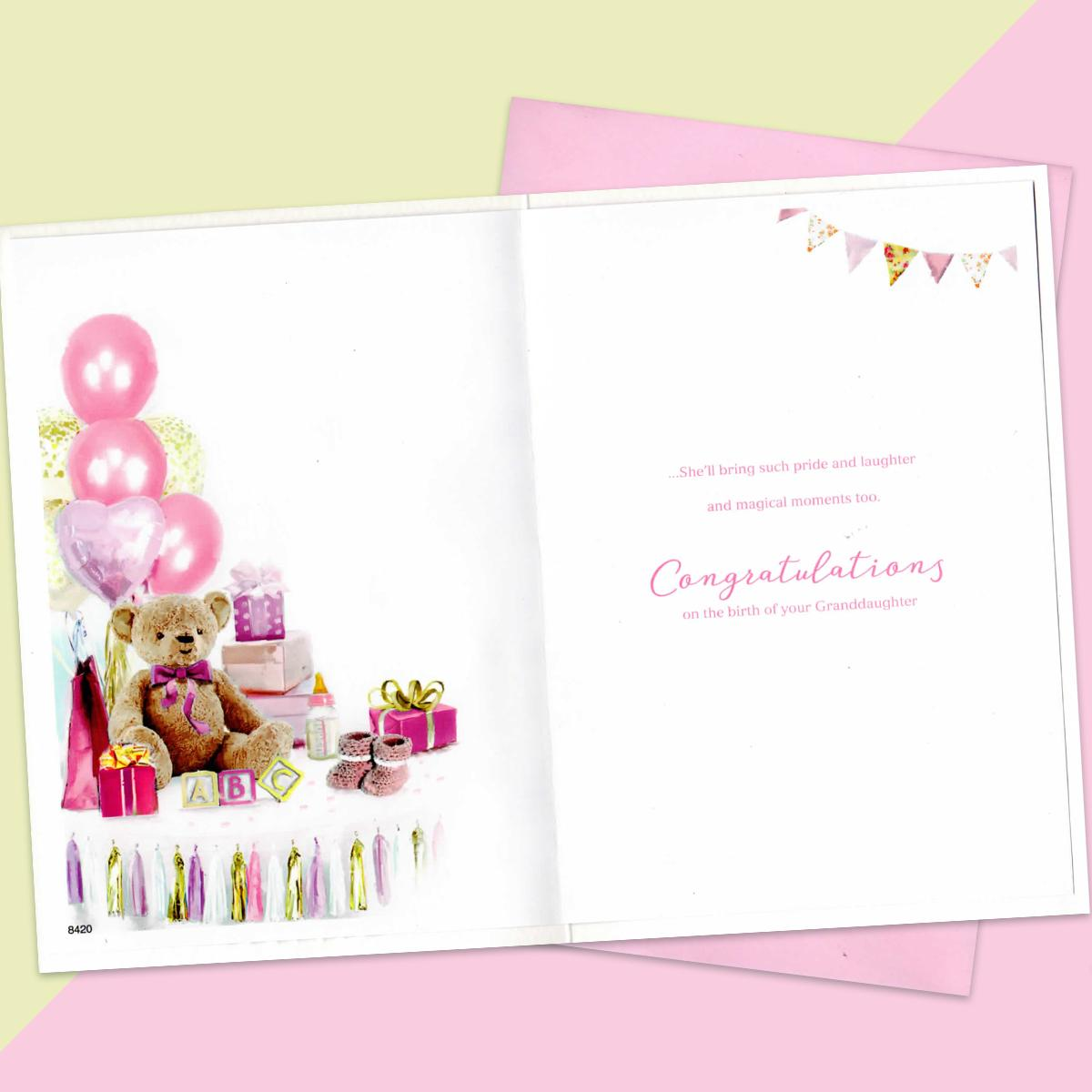 Birth Of Granddaughter Baby Card With Envelope
